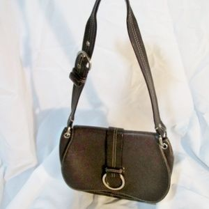 COLE HAAN Pebbled Leather Flap Hobo Bag Purse